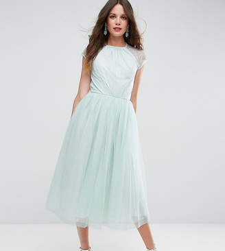 Asos Tall TALL PREMIUM Lace Tulle Midi Prom Dress