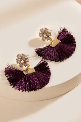 francesca's Alexa Tasseled Glass Post Drop Earrings - Purple
