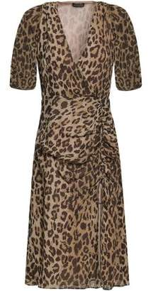 Nicholas Wrap-effect Ruched Leopard-print Silk-georgette Dress