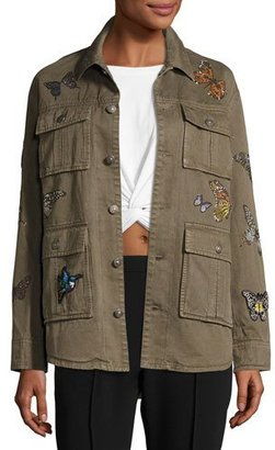 cinq a sept Swarovski® Monarch Canyon Jacket, Olive $795 thestylecure.com