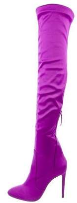 Charlotte Olympia Satin Knee-High Boots
