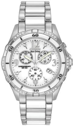 Zales Ladies' Citizen Eco-DriveA Diamond Accent Ceramic and Stainless Steel Chronograph Watch (Model: FB1230-50A)