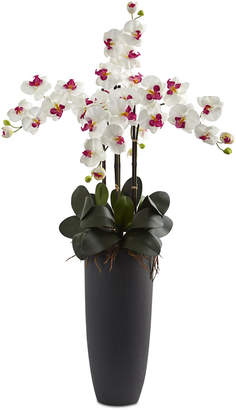 Nearly Natural White Phalaenopsis Orchid Artificial Arrangement with Bullet Planter