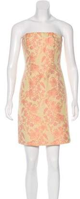 Carmen Marc Valvo Strapless Jacquard Dress