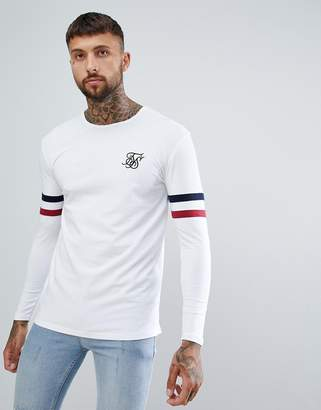 SikSilk long sleeve t-shirt with stripe sleeves in white