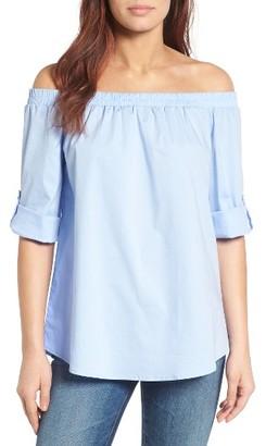 Women's Bobeau Off The Shoulder Poplin Shirt $59 thestylecure.com