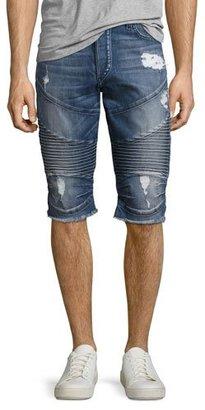 True Religion Geno Moto Denim Cutoff Shorts, Blue $249 thestylecure.com