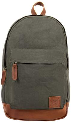 MAHI Leather - Leather and Canvas Classic Backpack in Forest Green