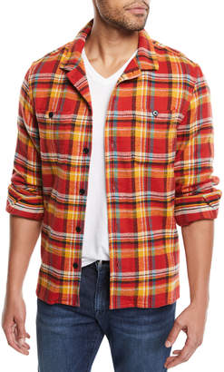 Frame Men's Button-Front Plaid Flannel Shirt Jacket