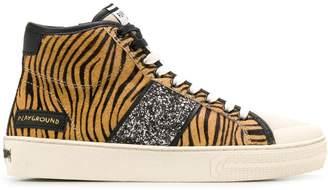 Moa Master Of Arts tiger print hi-top sneakers