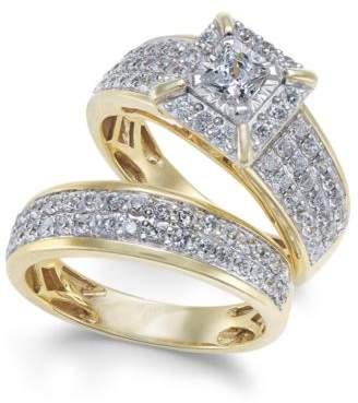 Macy's Diamond Princess Pavé Bridal Set (1-1/2 ct. t.w.) in 14k Gold