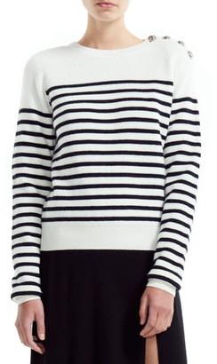 Maje Marin Stripe Button Detail Cotton & Wool Blend Sweater