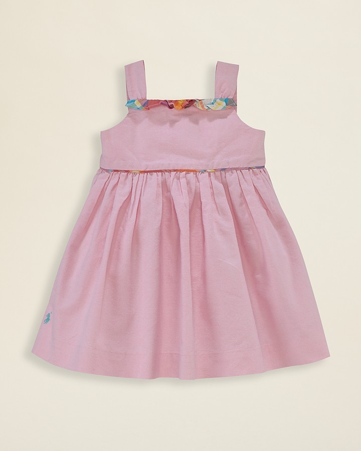 Ralph Lauren Infant Girls' Solid Oxford Cotton Dress - Sizes 9-24 Months