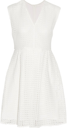 Sandro Royale paneled broderie angalise and chiffon mini dress $470 thestylecure.com