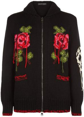 Alexander McQueen Rose Embroidered Chunky Knit Sweater