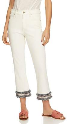 1 STATE 1.STATE Fringe-Trim Cropped Jeans in Antique White