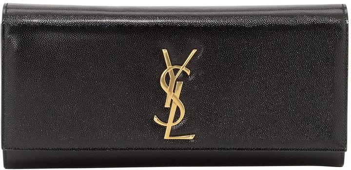Saint Laurent Cassandre Logo Clutch Bag, Black