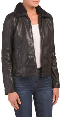 Leather Baseball Jacket With Sherpa