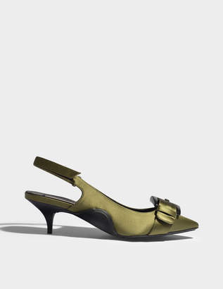 N°21 N21 Satin Slingbacks with Buckles in Green Synthetic Fabric