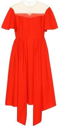 DELPOZO Cotton sheer-yoke dress