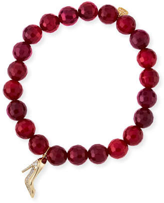 Sydney Evan Beaded Red Agate Bracelet with Diamond Stiletto Charm