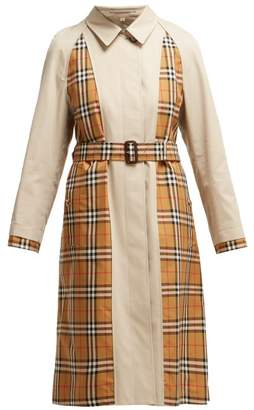 Burberry Guiseley Inside Out Cotton Gabardine Belted Coat - Womens - Beige Multi