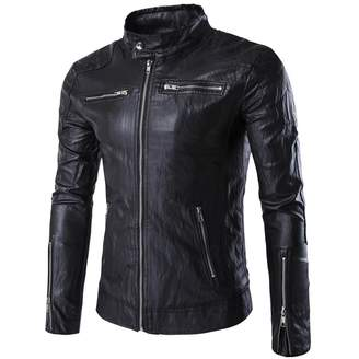 Kmety Men's Big & Tall Slim Fit Casual Jacket PU Leather Zipper Closure Coat