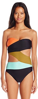 Volcom Women's Simply Solid One Piece Cut-Out Swimsuit $76.86 thestylecure.com