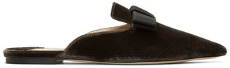 Jimmy Choo Brown Velvet Galaxy Flat Loafers