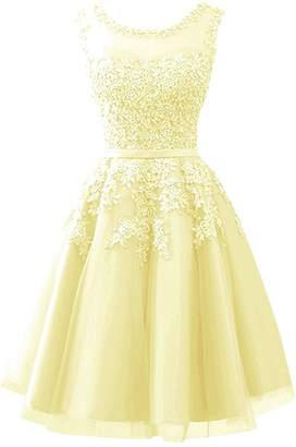 Cdress Homecoming Dresses Short Tulle Junior Prom Dress Lace Appliques Evening Gowns US