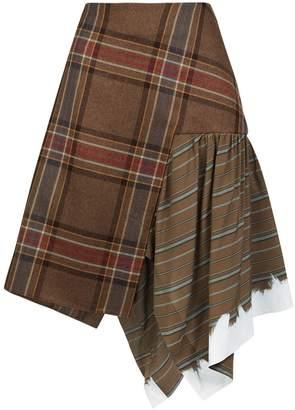 Lanvin Asymmetric Check Midi Skirt