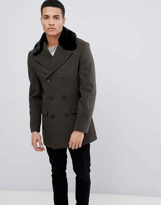 French Connection Double Breasted Wool Rich Pea Coat With Faux Fur Collar
