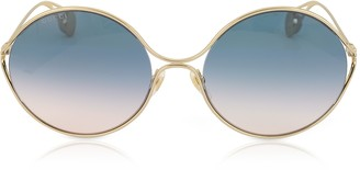 8766c5cb18b Gucci GG0253S Round-frame Metal Sunglasses w GG Pearls