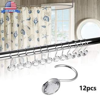 HLC 12pcs Bathroom Shower Curtain Hooks Decor Crystal Rolling Slide Rings
