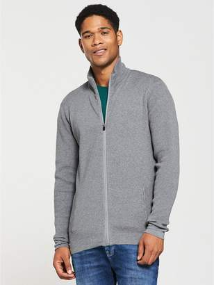 Very Zip Through Tech Knit - Marl Grey
