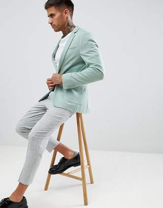 Asos DESIGN super skinny blazer in sage green jersey