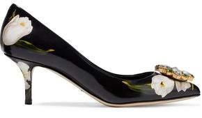 Dolce & Gabbana Crystal-embellished Floral-print Glossed-leather Pumps