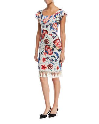 Sachin + Babi Hemuskudar Floral Tassel Short-Sleeve Cocktail Sheath Dress