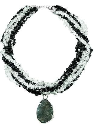 Sarah Kosta - Petra Black Agates & Crystal Quartz Necklace With Druzy Agate In Silver