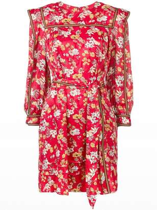 Derek Lam 10 Crosby Belted Bouquet Floral Print Silk-Blend Jacquard Shift Dress