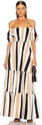 Caroline Constas Bardot Maxi Dress in Beige | FWRD