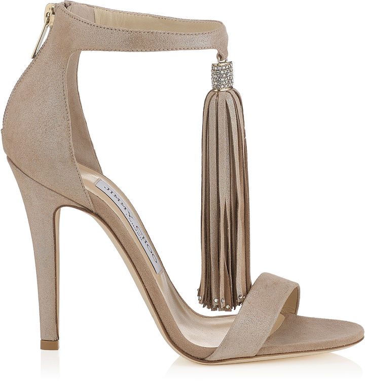 VIOLA 110 Nude Shimmer Suede Sandals with a Nude Shimmer Suede Tassel