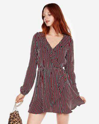 Express Stripe Elastic Waist Ruffle Dress