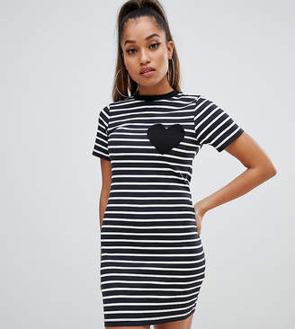 Asos DESIGN Petite mini bodycon stripe t-shirt dress with heart pocket