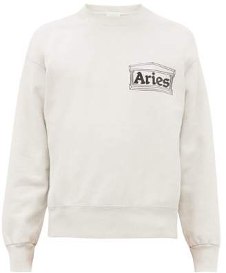 Aries Temple Logo Print Cotton Sweatshirt - Mens - Grey