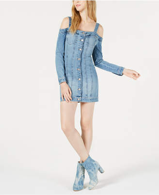 GUESS Cold-Shoulder Denim Bodycon Dress