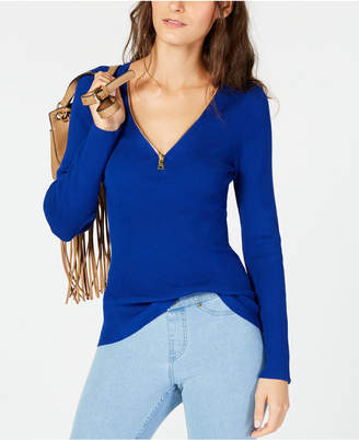 INC International Concepts I.n.c. Zipper Embellished Sweater