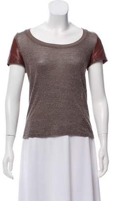 Elizabeth and James Leather-Accented Short Sleeve Top