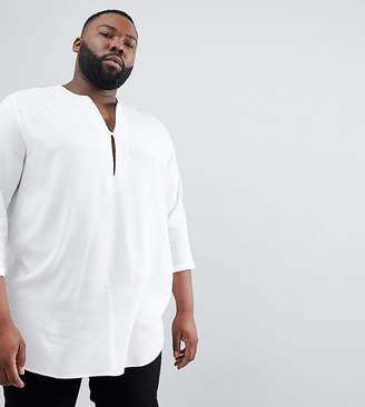 Asos Design DESIGN Plus regular fit longline viscose shirt in white with v neck