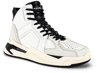 Balmain B-Ball Leather Sneaker in Black & Noir | FWRD